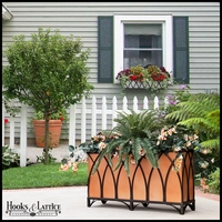 24in. Arch Design Footed Black Planter w/ Liner