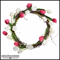 24in. Tulip and Grapevine Wreath, Pink/White