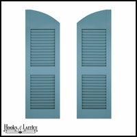 12in. Wide - Architectural Collection Solid Arched Top w/ Center Rail Louvered Shutters (Pair)