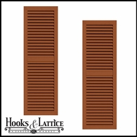 24in. Wide - Classic Collection 2 Panel Faux-Louvered Wood Composite Shutters (pair)