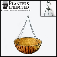 "24in. XL ""Mega"" Hanging Flower Basket, Commercial Strength - includes Coconut Coir Liner & Heavy Duty Swivel Hook"
