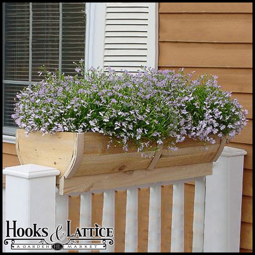28in rounded cedar deck rail planter half barrel design - Planters to hang on railing ...