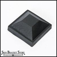 "3"" Sq Cast Iron Cap - Plateau - Black"
