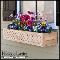 "32"" Lattice Cedar Wood Window Box Includes Mounting Bracket"