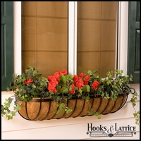 "36"" Deluxe Scroll Window Box w/ Std Coconut Coir Liner"