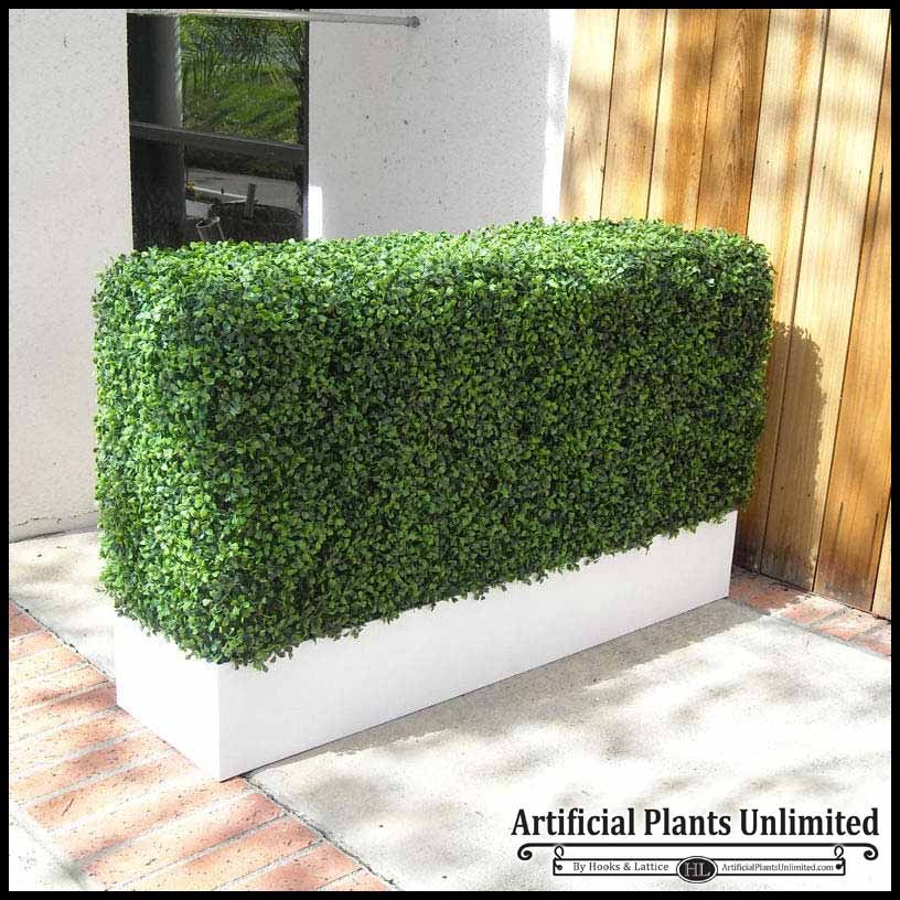 Boxwood outdoor artificial hedges with modern planters for Patio privacy screen plants