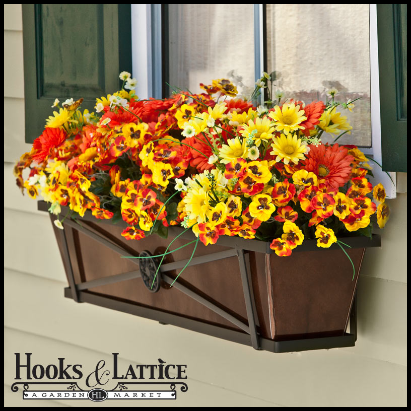 "Lattice Rail Flower Box Is A Superb Addition To Decks: 36"" Medallion Decora Window Boxes W/ Oil-Rubbed Bronze"