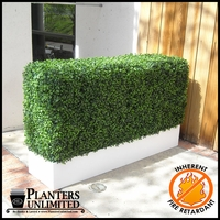 36in.L x 12in.W Fire Retardant Artificial Boxwood Hedge in Modern Planter