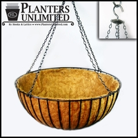 "36in. XL ""Mega"" Hanging Flower Basket, Commercial Strength - includes Coconut Coir Liner & Heavy Duty Swivel Hook"