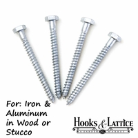 4/pk. Window Box Mounting Bolts 1/4in. Dia x 3in. Long  (Stucco/Wood)