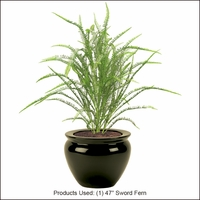 47in. Artificial Sword Fern<br> Outdoor Rated