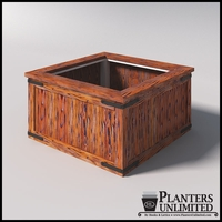 """48""""L x 48""""W x 26""""H Rustic Barnwood Planter w/Steel Frame for Trees"""