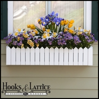 48in. Picket Fence Premier Window Box w/ *Easy Up* Cleat Mounting System (with 2/Countryside Plastic Liners Included)