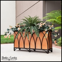 36in. Arch Design Footed Black Planter w/ Liner