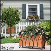 24in. Arch Design Footed Bronze Planter w/ Liner