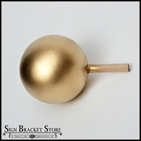 "5"" HDU Ball Finial with 5/8"" x 3"" Wood Dowel  - Gold"