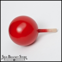 "5"" HDU Ball Finial with 5/8"" x 3"" Wood Dowel  - RED"
