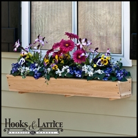 """50"""" Tapered Cedar Wood Window Box Including Cleat"""