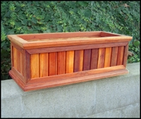 """60"""" Redwood Framed Slatted Window Planter with Easy UP Cleat"""