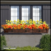 "72"" Medallion Decora Window Boxes w/ Bronze Galvanized Liner"