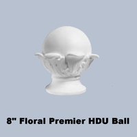 """8"""" Dia. Ball with Classic Floral Base Finial Newel Post Top"""