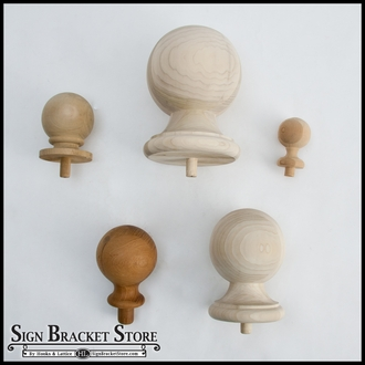 "7""  Wood Ball Finial- Furniture Grade, Style B4"