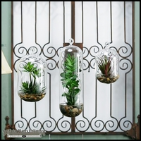 Agave and Succulents in Large Glass Hanging Birdhouse, 12 in.
