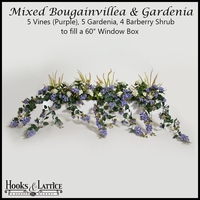 Artificial Bougainvillea & Gardenia for Window Boxes - Purple