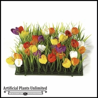 10in. X 10in. Crocus Flowers Grass Mat - Indoor