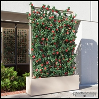 3'L Azalea Trellis Artificial Indoor Space Divider in Fiberglass Planter