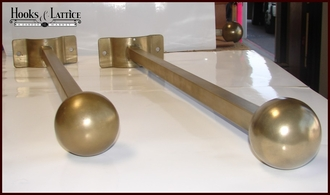 Ball Finial Banner Bracket Coated with Brass ArmoreCoat Finish