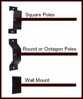 Ball Finial Iron Straight Arm Banner Brackets