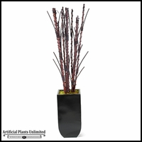 Bamboo and Willow Branches in Tall Square Metal Planter, 7'