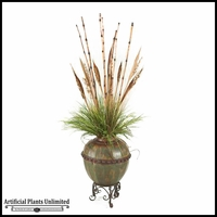 Bamboo Cane and Grasses in Round Metal Planter with Stand, 5.5'