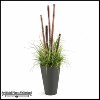 6' Bamboo Poles and Grasses in Tall Resin Planter