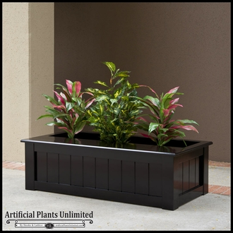 Bench Planter With Various Artificial Plants