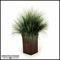 Burgundy Green Onion Grass in Tall Square Metal Planter, 42 in.