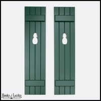 "Painted Cedar Board and Batten Shutters -12"" Wide with 4 Boards and Cut-Out Design"