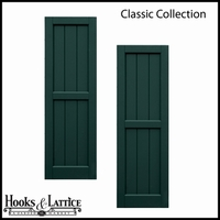 Classic Collection V-Groove Flat Panel Shutters w/ Center Rail - 12in. Wide x 30in. High