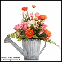 Country Delight Orange Peony Arrangement in Watering Can