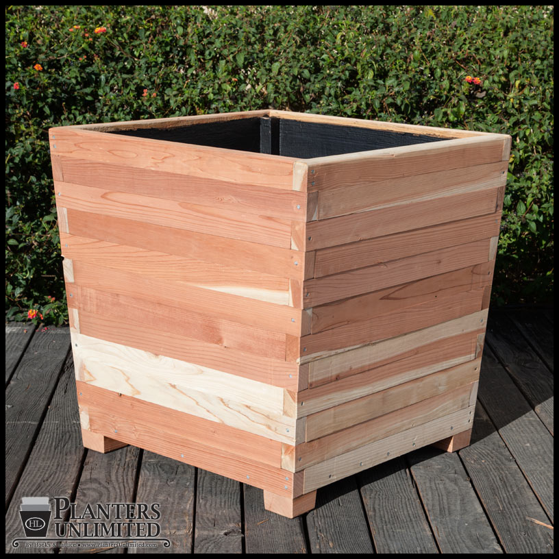 Large Redwood Planter Box For Tomatoes: Commercial Redwood Planters With Feet