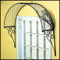 Curved Lattice Window Accent w/ Scroll Brackets