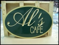 Custom Routed Sign - Al's Cafe
