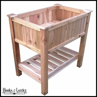 36in. Elevated Cedar Garden Planter w/ Shelf
