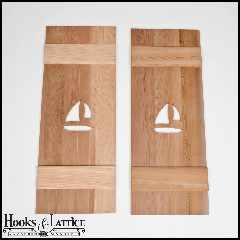 decorative nautical cedar exterior window shutters hooks and lattice