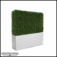 Duraleaf Boxwood Hedge in Modern Fiberglass Planter 48inLx 12inW, Indoor