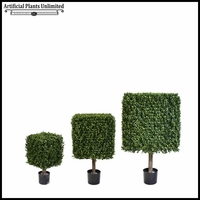 Duraleaf Outdoor Artificial Boxwood Topiary Trees - Cube Design