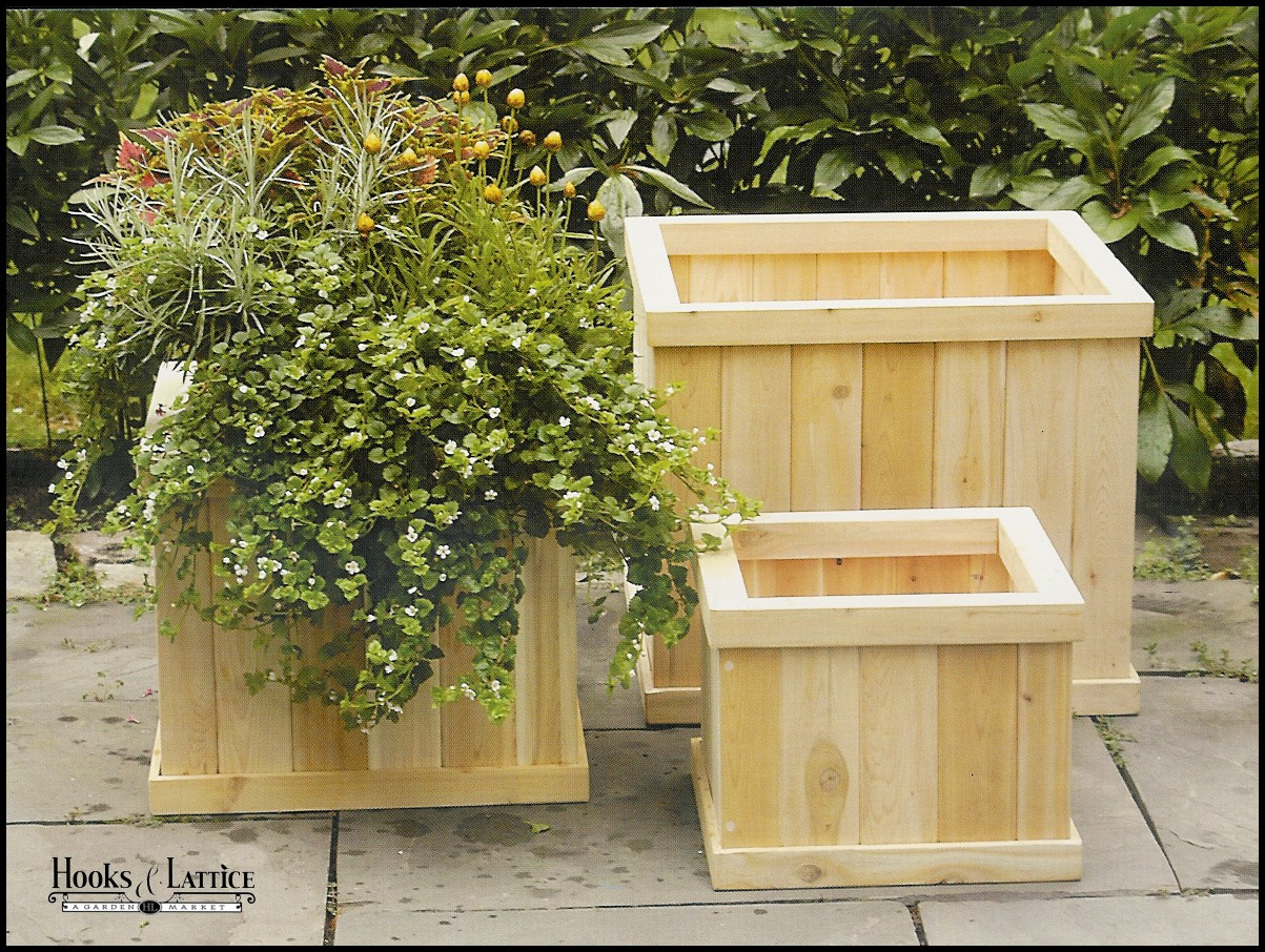 garden cedar planter outdoor wood planters