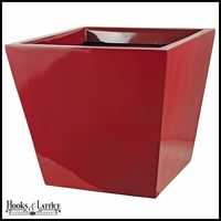 Sabin Fiberglass Tapered Square Planter - Glossy Red