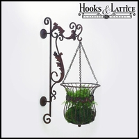Faux Bronze Finish Bracket And Hanging Basket With Leafaccents
